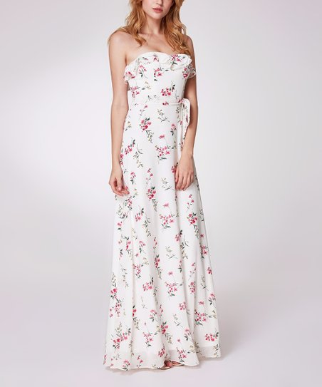 600457b8c Ever Pretty White   Pink Floral Ruffle Strapless Maxi Dress