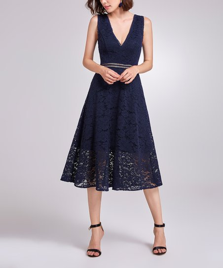 ba3b84be3b2d4 Ever Pretty Navy Blue Lace Fit & Flare Dress | Zulily