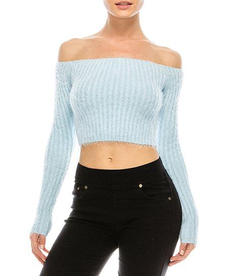 Curiosity Usa Light Blue Off Shoulder Crop Sweater Zulily