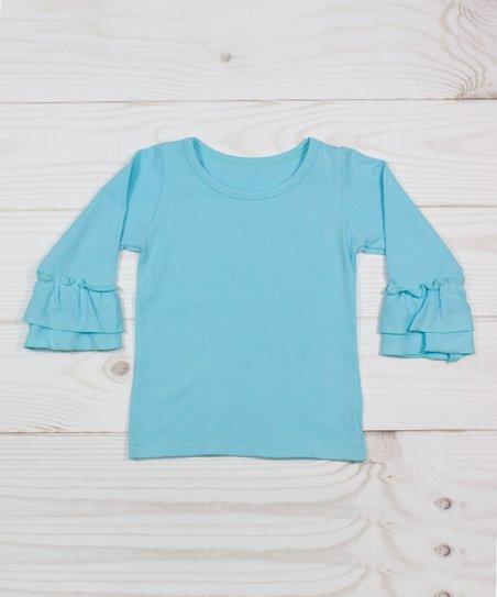 Dress Up Dreams Boutique Light Blue Ruffle Long Sleeve Tee Infant