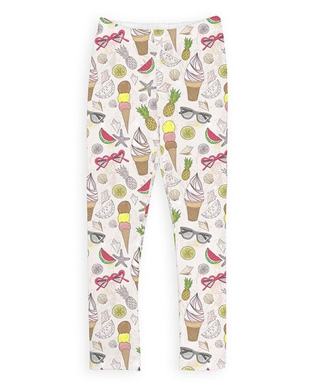 3d1a3c65ac082 love this product White & Brown Ice Cream Leggings - Girls