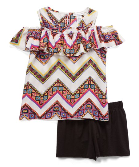 e9ab0b966bbd5 love this product Fuschia Lime Chevron   Black Cold-Shoulder Top   Shorts -  Girls