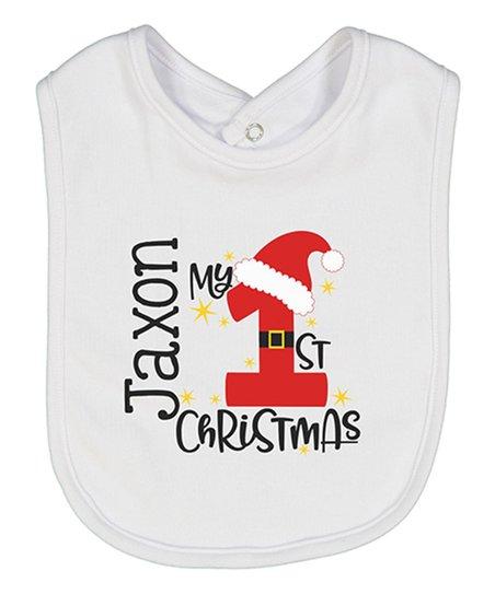 Initial Request White My 1st Christmas Santa Hat Personalized Bib ... dd22e0ab592