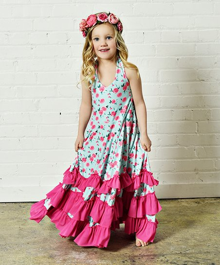 d5b04d39859 Oopsie Daisy Aqua   Hot Pink Floral Ruffle Maxi Dress - Girls