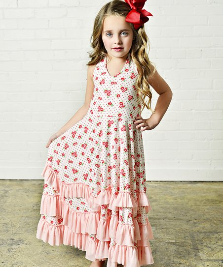 f1353057368 Oopsie Daisy Cream   Red Dot Floral Ruffle Maxi Dress - Girls