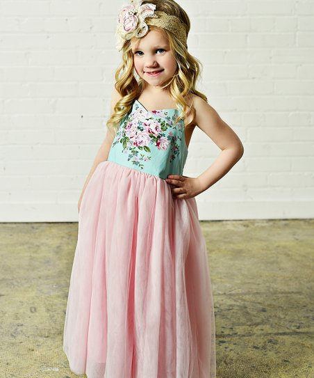 e22ea7f506 love this product Aqua   Pink Floral Tulle-Skirt Maxi Dress - Girls