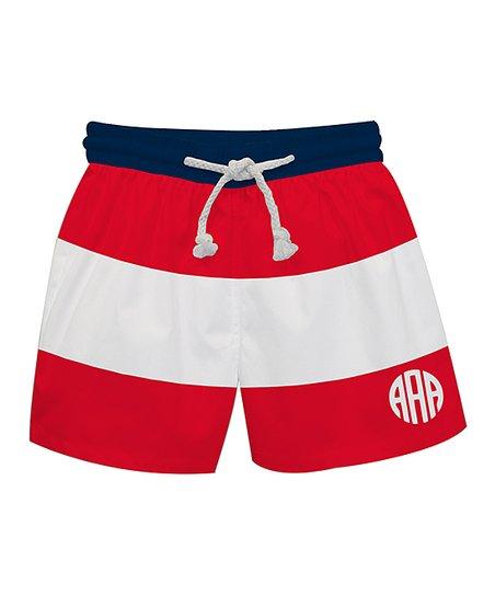 783790ea33845 love this product Red & White Stripe Monogram Swim Trunks - Infant, Toddler  & Boys