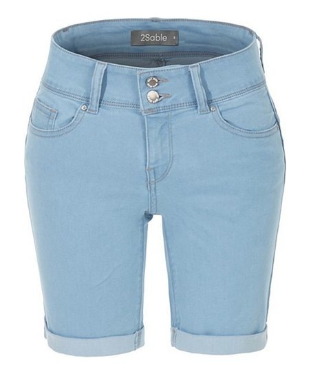 bf9df51daaa Light Blue Roll-Cuff Denim Bermuda Shorts - Women