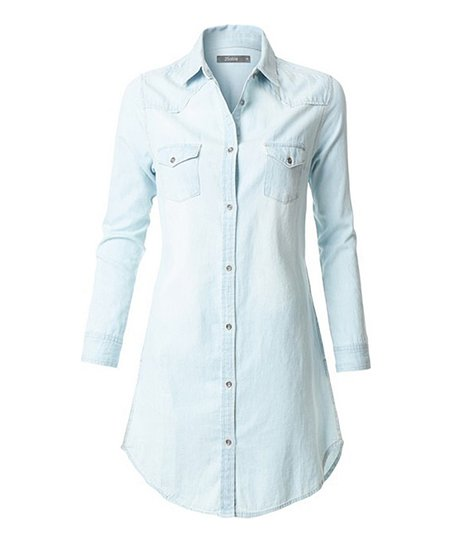 68335fb8cbd love this product Light Blue Denim Long-Sleeve Shirt Dress - Women