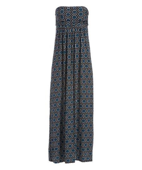 Hourglass Lily Teal Black Geometric Strapless Maxi Dress Women
