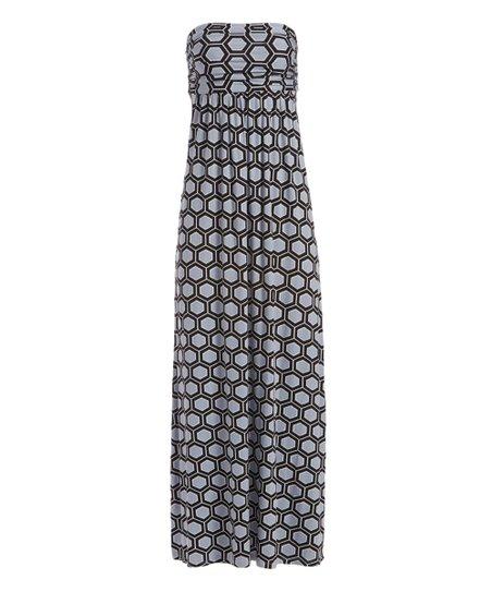 Hourglass Lily Gray Black Geometric Strapless Maxi Dress Women