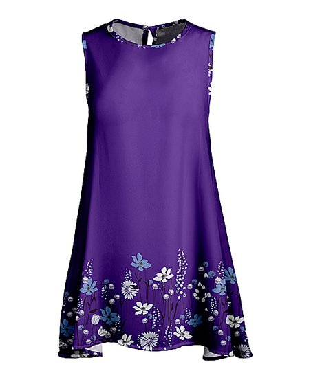 Love This Product Purple White Fl Sleeveless Swing Tunic Women Plus