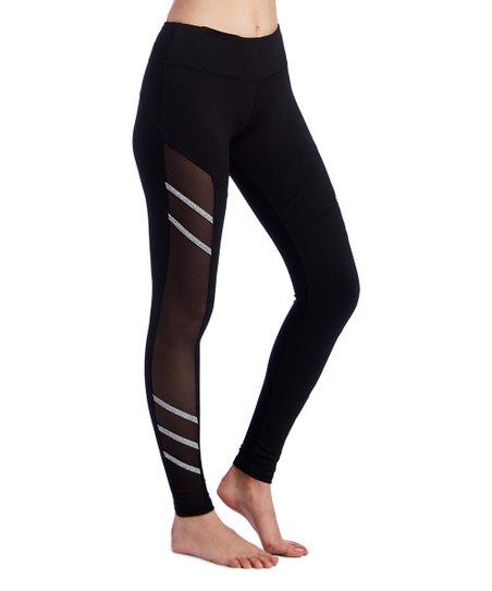 6e9d2c3427760 The Free Yoga Black & White Mesh-Stripe Leggings - Women   Zulily