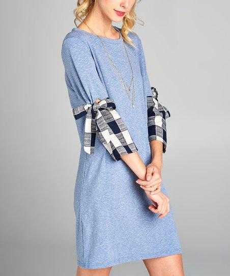 969af8ba7e5 Love, Kuza Blue Plaid-Sleeve Shirt Dress - Women | Zulily