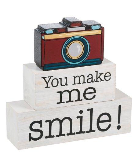 GANZ You Make Me Smile Camera Block Sign Set  7e99987549
