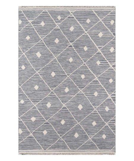 Dark Gray Lattice Thompson Wool Rug