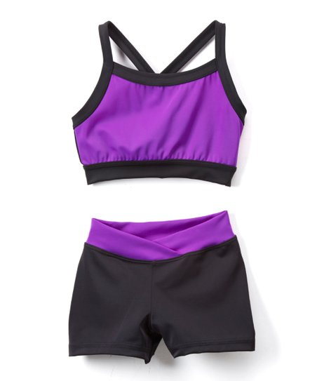 a593103706a Niva-Miche Clothes Dark Purple & Black Crop Top & Crossover-Waistband  Shorts - Toddler & Girls