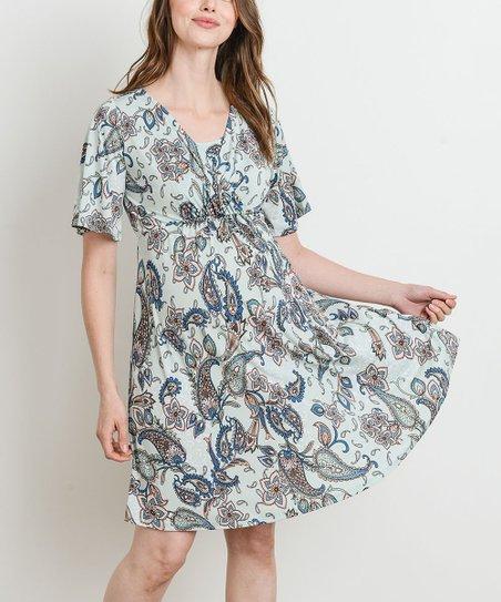 Sage Paisley Dress