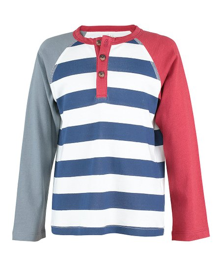 db290363a love this product Blue & Red Stripe Color Block Henley - Toddler & Boys