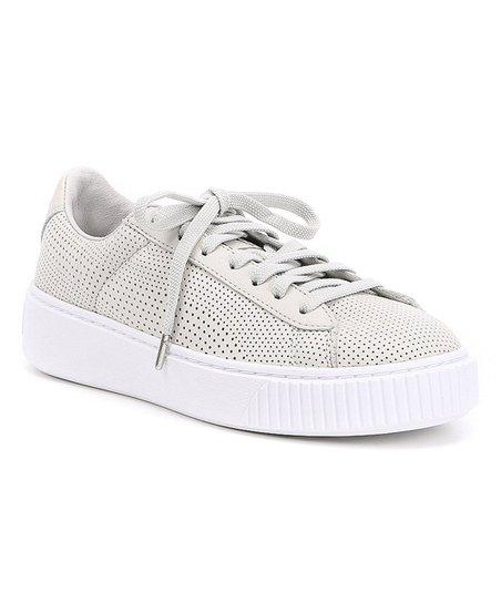 PUMA Gray Violet & Silver Basket Platform Perforated Leather Sneaker Women