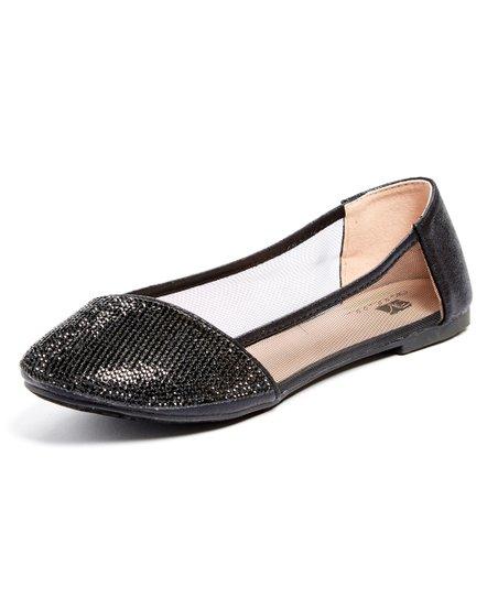 a54afd9fcc1 Angels New York Black Glitter Mesh-Side Kitten Heel - Girls