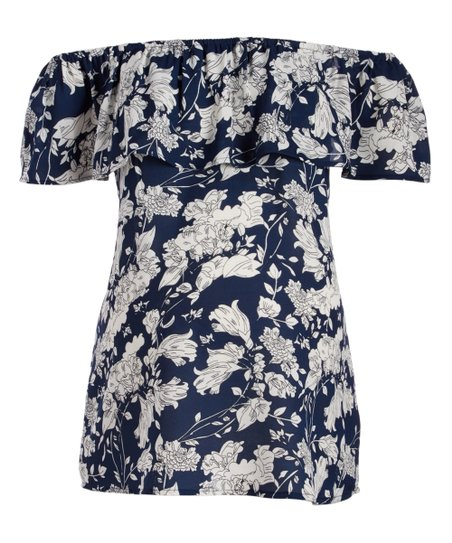 386b038e5dead love this product Navy   White Floral Maternity Off-Shoulder Top
