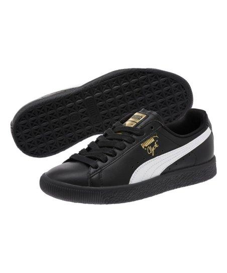 the latest a056e 6ba31 PUMA Black & White Clyde Core L Foil Leather Sneaker - Kids