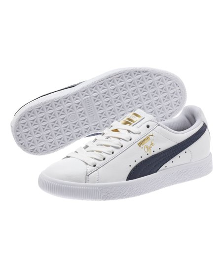 size 40 cfbc4 95f56 PUMA White & New Navy Clyde Core L Foil Leather Sneaker - Kids