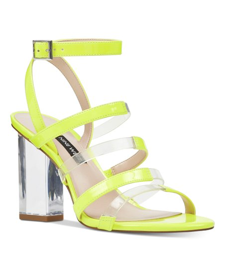 arriving choose original buying now Nine West Neon Yellow & Clear Strappy Fazzani Sandal - Women