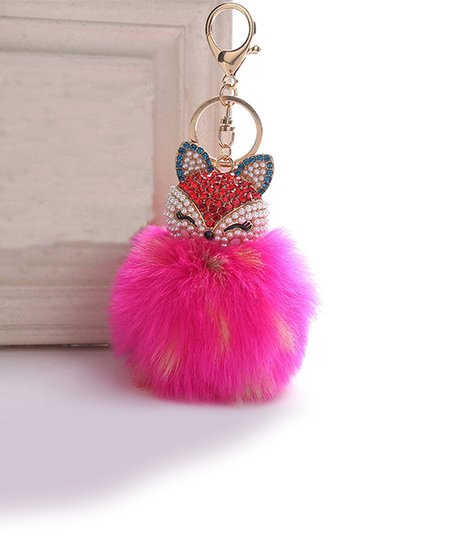 Ella Elly Pink Fox Pom Purse Charm Zulily. Faux Fur ... 38534bd3ed51a