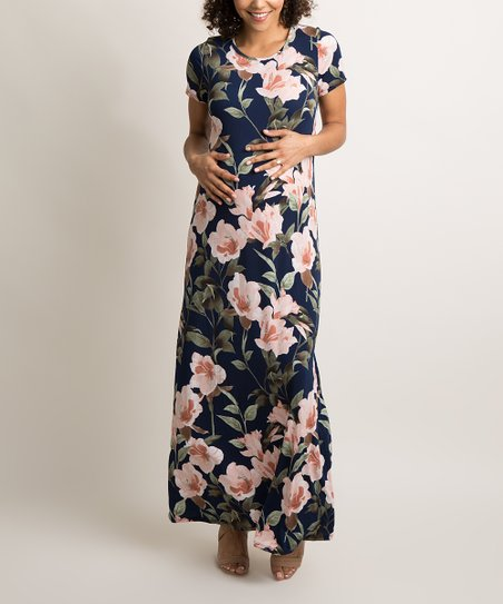 4d75b34719e25 PinkBlush Maternity Navy Blue Floral Maternity Maxi Dress | Zulily