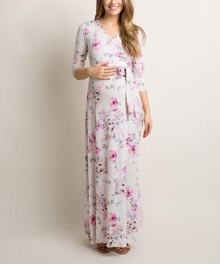 9d4dd2b8d50 PinkBlush Maternity Ivory Pink Floral Maternity Wrap Maxi Dress | Zulily