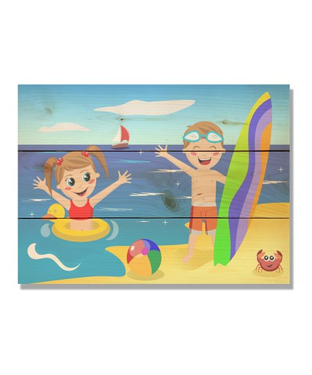 Daydream Kids On Beach Outdoor Wood Wall Art