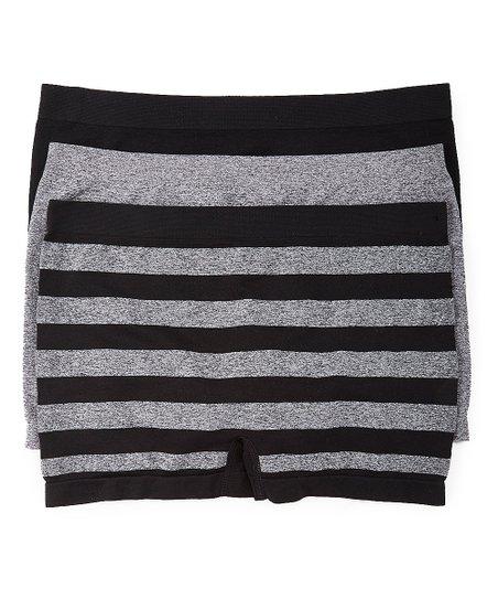 d1ba588547c9 Delta Burke Intimates Black & Gray Stripe Boyshorts Set - Women | Zulily
