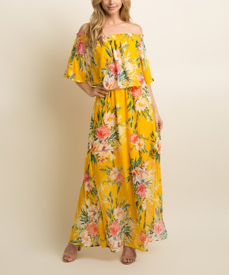 c4935c2bae6 love this product Yellow Floral Ruffle Off-Shoulder Maxi Dress - Women