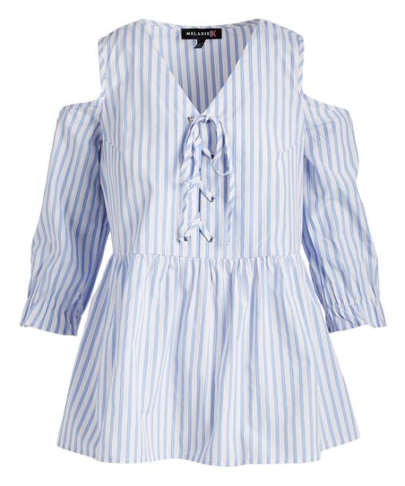 a5a45e154e9 Melanie K Blue & White Stripe Lace-Up Cold Shoulder Top - Women | Zulily