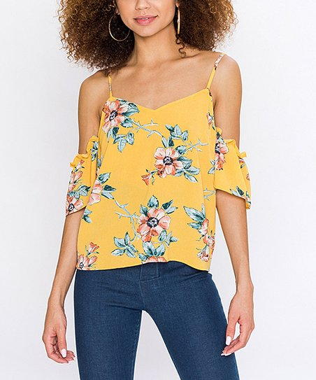 c55cadb9b5d64 love this product Yellow Floral Cold-Shoulder Top - Women