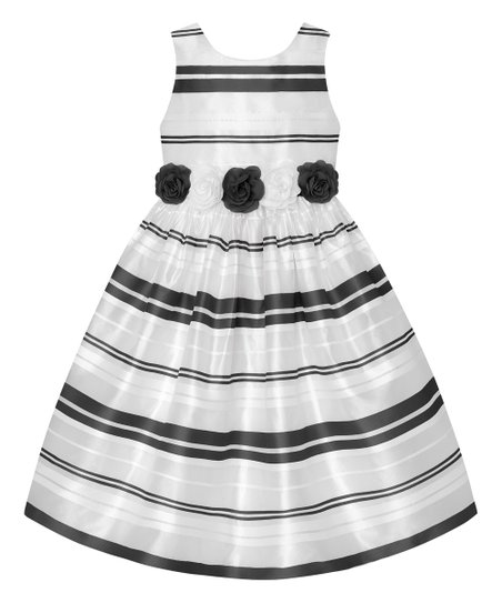 7614fbadcb love this product Black & White Stripe Bow-Accent A-Line Dress - Toddler &  Girls