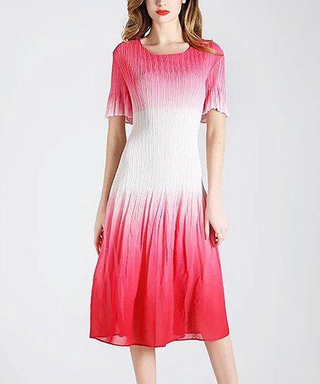2b43fd3a898b Jerry T Fashion Red & White Tie-Dye Midi Dress - Women & Plus | Zulily