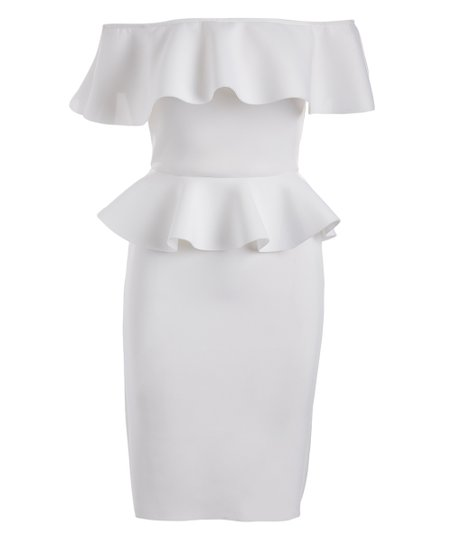6470bd6b20e Olivia Tulle White Peplum Off-Shoulder Dress - Juniors | Zulily