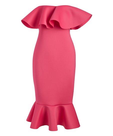 0b88fca04bce Olivia Tulle Fuchsia Ruffle Off-Shoulder Dress - Juniors