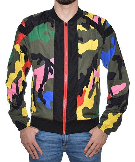 0b53a009741fa BlackJack Black & Rainbow Camo Bomber Jacket   Zulily