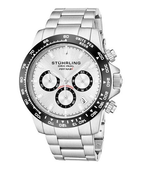 Stuhrling Silvertone White Monaco Tachymeter Chronograph Watch