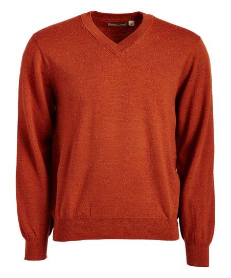 Alister Mackenzie Burnt Orange Heather Dunbar Wool V Neck Sweater
