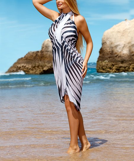 8110ef4ecf love this product White & Black Stripe Wrap Skirt Cover-Up - Women