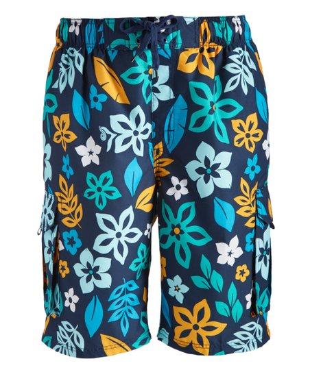 60d38516c4 Kanu Surf Navy Revival Floral Swim Trunks - Men   Zulily