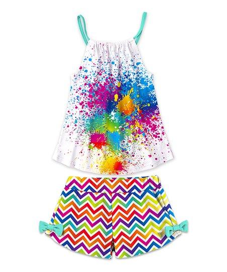 ad9b145176ae love this product White Splatter Tank & Rainbow Chevron Bow Shorts -  Toddler & Girls