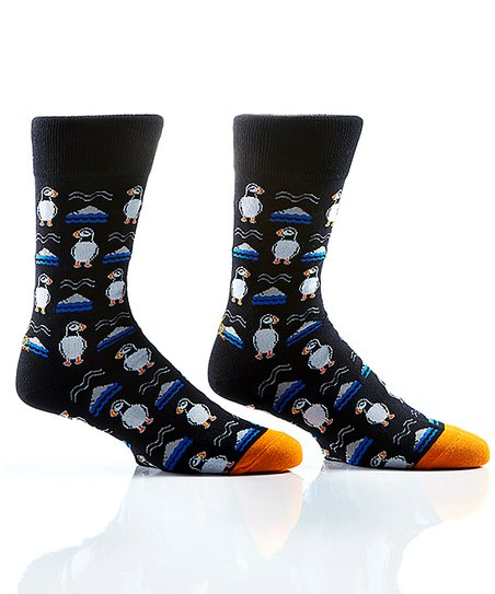 2310f40ddc33e YoSox Black Puffin Crew Socks - Women | Zulily