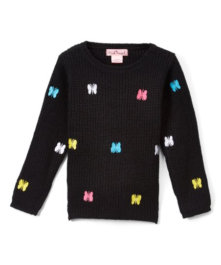 Pink Angel Black Embroidered Butterfly Sweater - Girls  0dca7193e