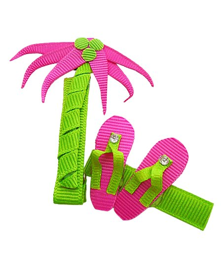 3c395bb24d0dfb love this product Pink   Green Palm Tree   Flip Flop Clip Set